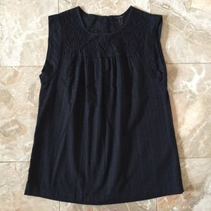 J. Crew Black Eyelet Windowpane Tank Top
